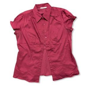 Ricki's burgundy pink cap sleeves button front top